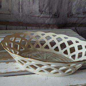Vintage Lenox Ivory Tray Basket Gold Trimmed Bull